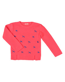 Billieblush Girls Pink Girls Embroidered Dog Jumper