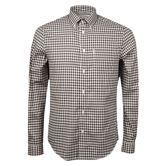 Ben Sherman Mens Black Dogstooth Gingham Shirt main image