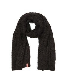 Superdry Womens Black North Cable Scarf