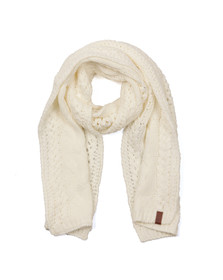 Superdry Womens Off-white North Cable Scarf