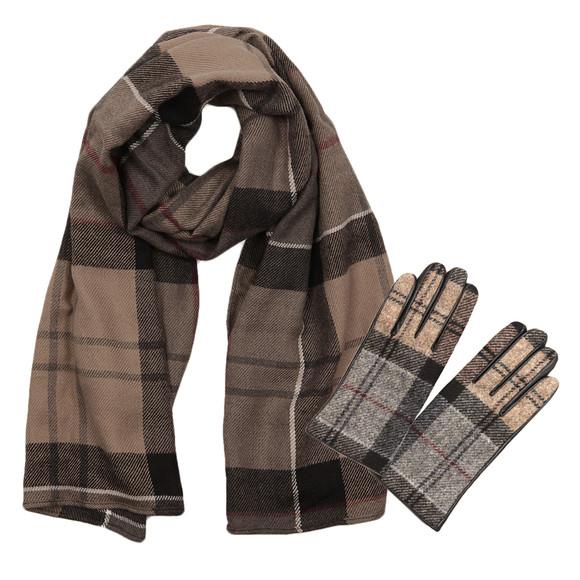 Barbour Lifestyle Womens Black Tartan Glove and Scarf Set main image