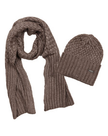 Barbour International Womens Grey Hat and Scarf Set