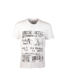 True Religion Mens White Cut Up Buddha T Shirt
