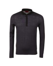 Hugo Mens Blue Seven Knitted Long Sleeve Polo Shirt