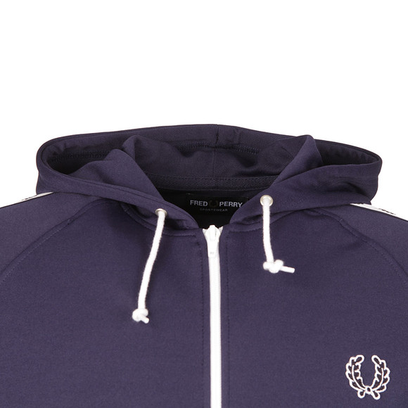 Fred Perry Mens Blue Taped Hooded Track Jacket main image
