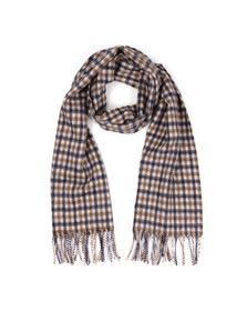 Aquascutum Mens Brown Club Check Lambswool Scarf