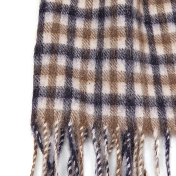 Aquascutum Mens Brown Club Check Lambswool Scarf main image