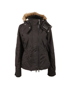 Superdry Womens Black Hooded Fur Sherpa Wind Attacker