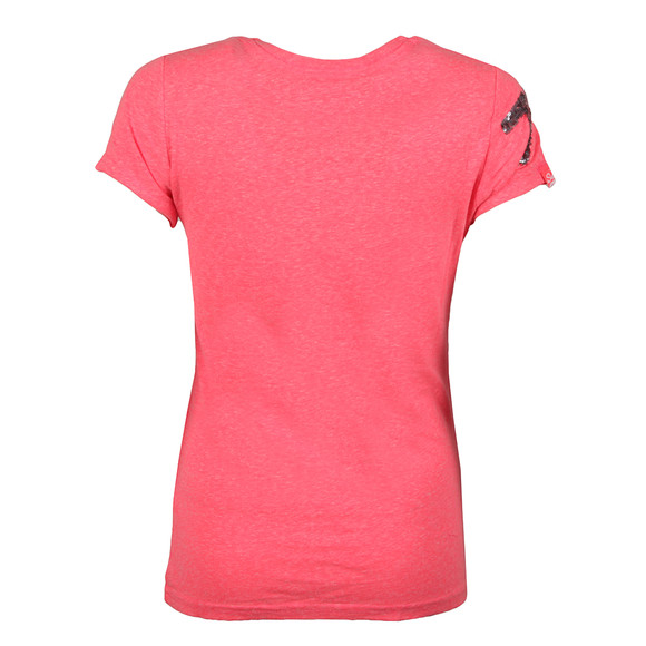 Superdry Womens Pink Vintage Logo Sequin T Shirt main image