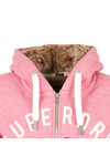 Superdry Womens Pink Fur Lined Applique Hoody