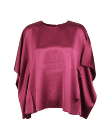 French Connection Womens Pink Sasha Satin Fluted Top
