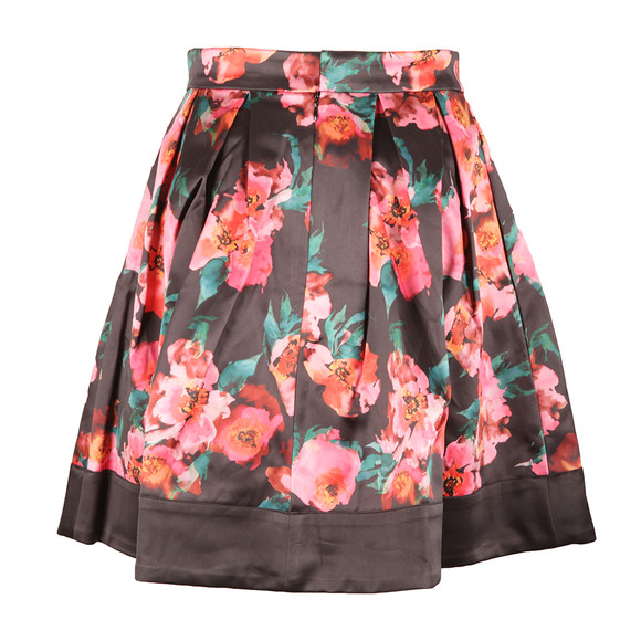 French Connection Womens Black Allegro Poppy Satin Flare Skirt main image