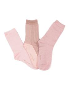 Ted Baker Womens Pink Glintee Metallic Assorted Sock Pack