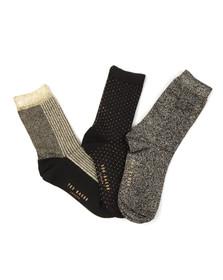Ted Baker Womens Black Glintee Metallic Assorted Sock Pack