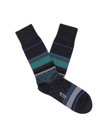 Paul Smith Mens Blue City Stripe Sock