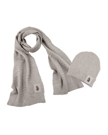 Luke Mens Grey Unbeweavable Hat And Scarf Set