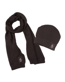 Luke Mens Black Liam Hat And Scarf Set