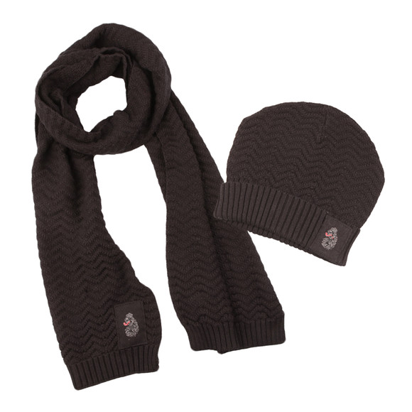 Luke Mens Black Liam Hat And Scarf Set main image