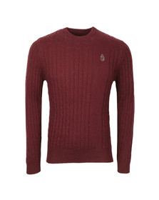 Luke Mens Red Hortons Cable Crew Neck Jumper