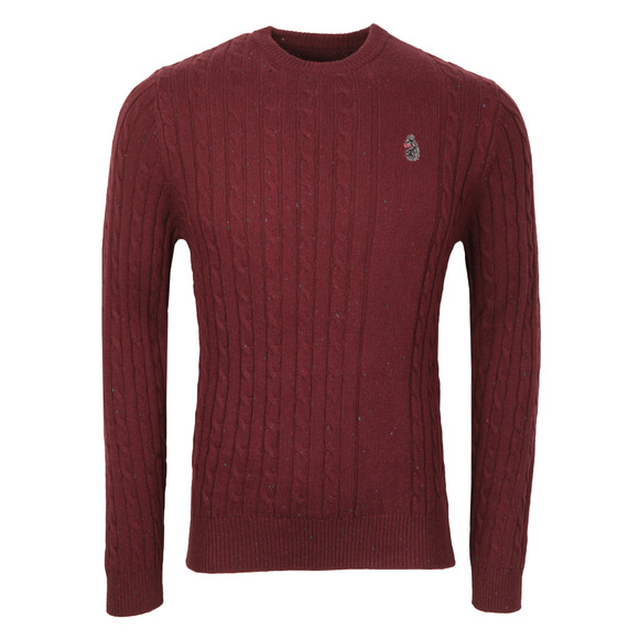Luke Mens Red Hortons Cable Crew Neck Jumper main image