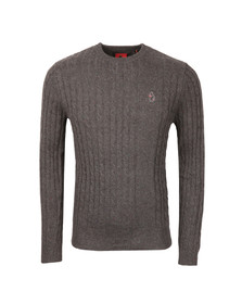 Luke Mens Grey Hortons Cable Crew Neck Jumper