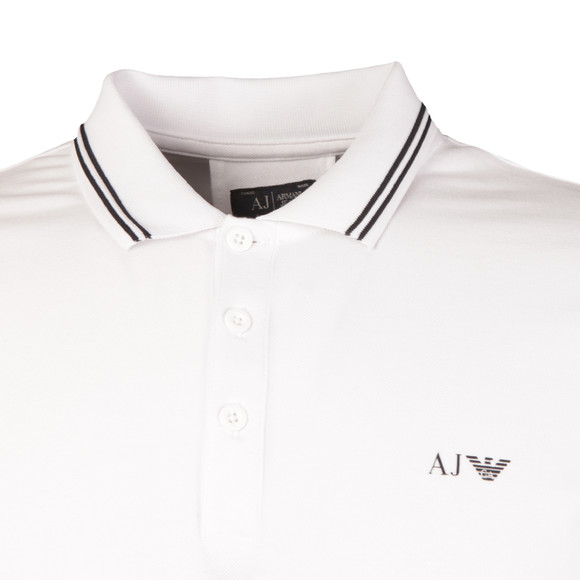 Armani Jeans Mens White Tipped Polo Shirt main image