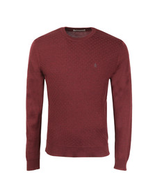 Original Penguin Mens Red Italian Merino Basketweave Jumper