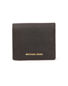Michael Kors Womens Black Jet Set Travel Saffiano Leather Card Case