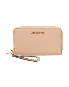 Michael Kors Womens Beige Jet Set Travel Large Coin Multi Function Phone Case