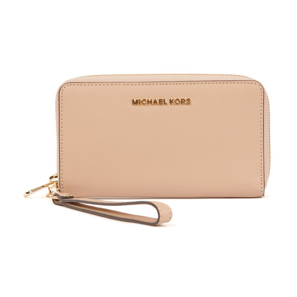 Michael Kors Womens Beige Jet Set Travel Large Coin Multi Function Phone Case main image