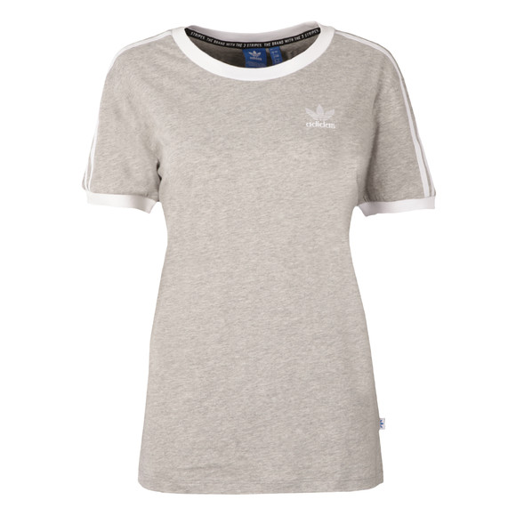 Adidas Originals Womens Grey 3 Stripes Tee main image