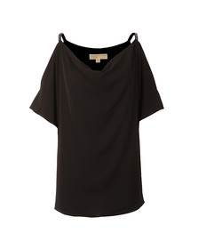 Michael Kors Womens Black Cowl Shoulder Embellished Strap Top