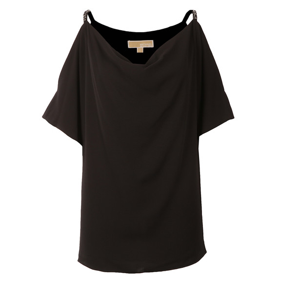 Michael Kors Womens Black Cowl Shoulder Embellished Strap Top main image