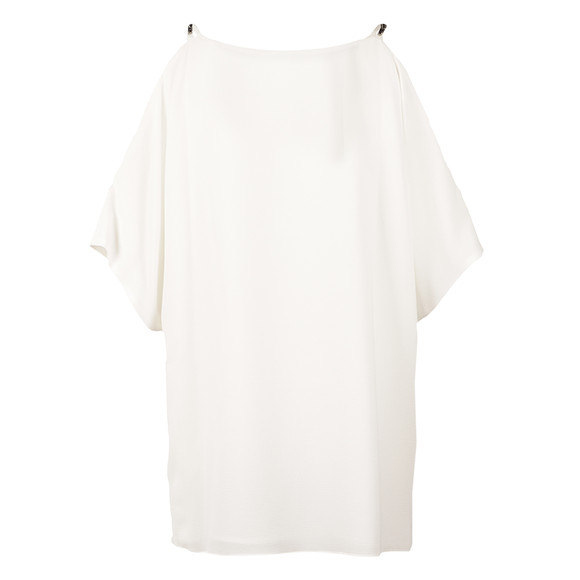 Michael Kors Womens Off-White Cowl Shoulder Embellished Strap Top
