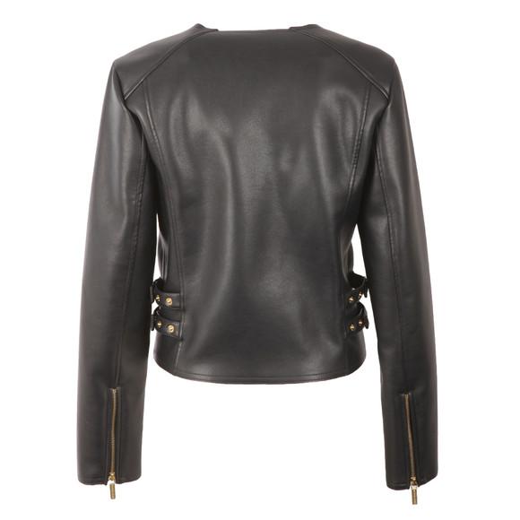 Michael Kors Womens Blue Bonded Faux Leather Jacket main image