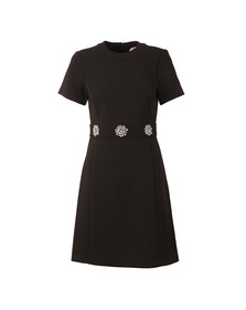 Michael Kors Womens Black Brooch Detail Dress