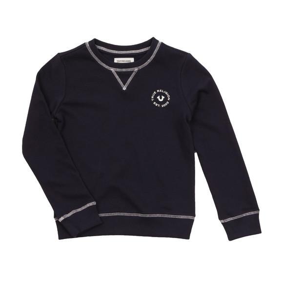 True Religion Boys Black Logo Crew Sweatshirt