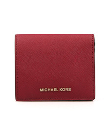 Michael Kors Womens Red Jet Set Travel Saffiano Leather Card Case