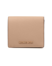 Michael Kors Womens Beige Jet Set Travel Saffiano Leather Card Case