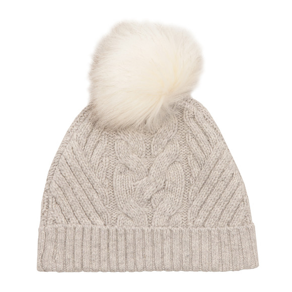 Ted Baker Womens Grey Lisabet Cable Knitted Hat With Pom Pom main image