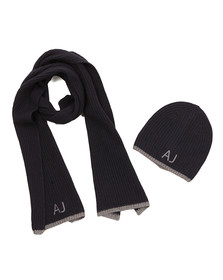 Armani Jeans Mens Blue Hat & Scarf Gift Set