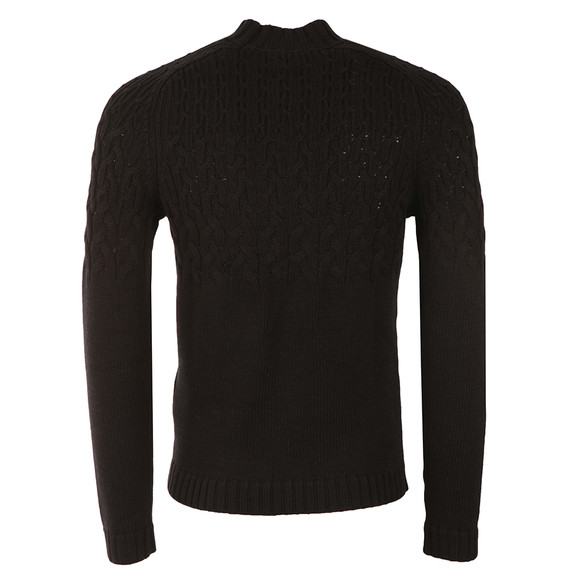 Pretty Green Mens Black Edale Cable Jumper main image