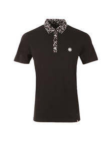 Pretty Green Mens Black Ivylea Floral Collar Polo Shirt
