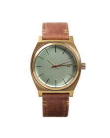 Nixon Mens Brass/green Crystal/brown Time Teller