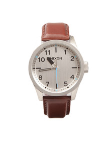 Nixon Mens Silver Safari Leather Watch