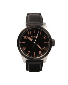Nixon Mens Black Safari Leather Watch