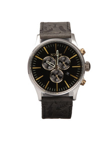 Nixon Mens Silver Sentry Chrono Leather Watch