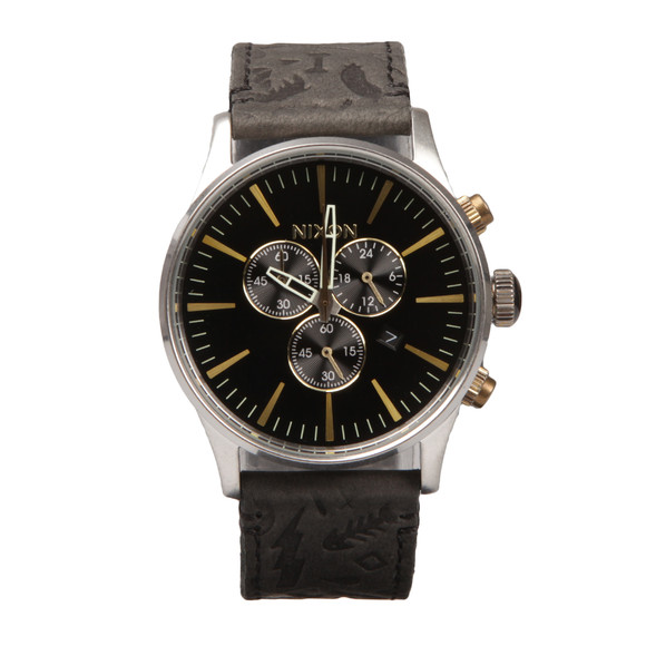 Nixon Mens Silver Sentry Chrono Leather Watch main image