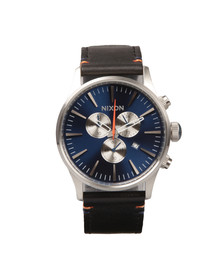 Nixon Mens Blue Sentry Chrono Leather Watch