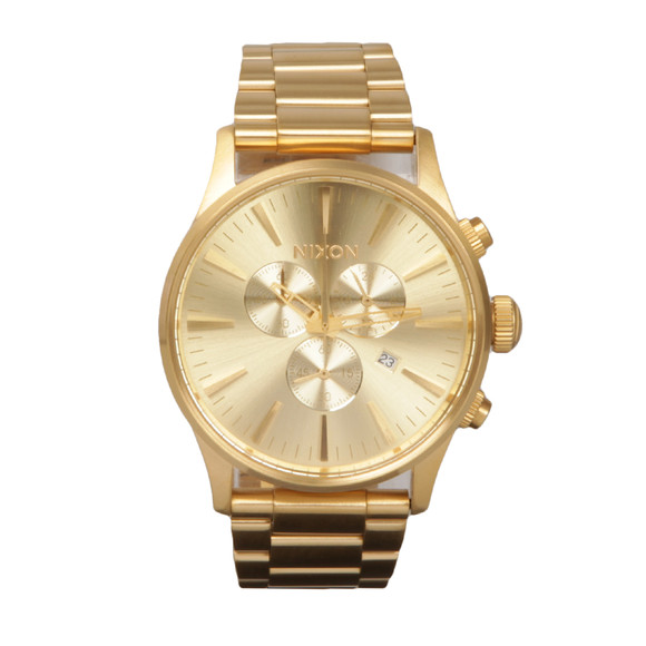 Nixon Mens Gold Sentry Chrono Watch
